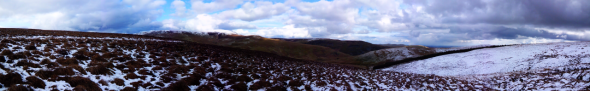 panoramic mountain range, with snow.